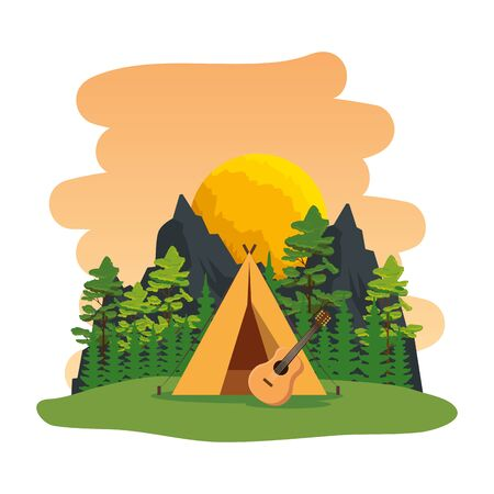 camping zone with camping tent and guitar scene vector illustration design