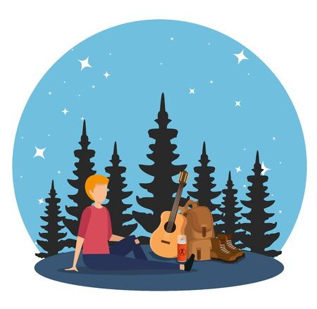 man with backpack and guitar with nature pines trees to tourism adventure vector illustration