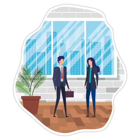 business couple in the workplace characters vector illustration design