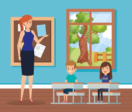 woman teacher in the classroom with kids and desks to academic education vector illustration Иллюстрация