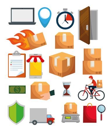 set of distribution boxes packages transport to delivery service vector illustration Standard-Bild - 129824417