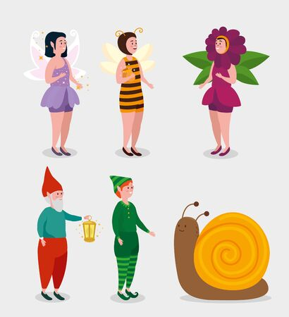set of girls fairies woth man gnomo and boy elf to tale character, vector illustration