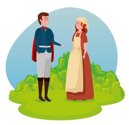 garçon prince avec cape et fille paysanne au personnage de conte, illustration vectorielle Vecteurs