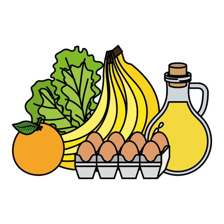 oilve oil with eggs and fruits healthy food icons vector illustration design Ilustrace