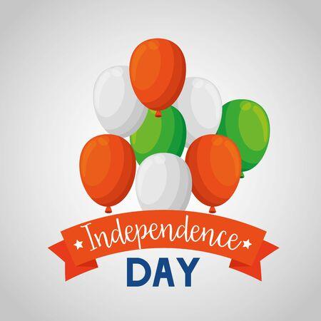 balloons with ribbon decoration holiday celebration to independence day vector illustration Illusztráció