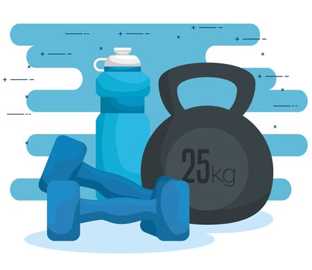 water bottle with dumbbells to exercise harmony vector illustration Reklamní fotografie - 129824429