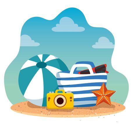 camara with ball and sunglasses inside purse with starfish to summer time vector illustration Illusztráció