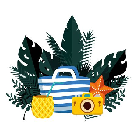 summer frame with tropical leafs and handle bag vector illustration design  イラスト・ベクター素材