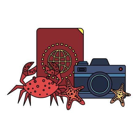 passport with camera photographic and crab vector illustration design Иллюстрация