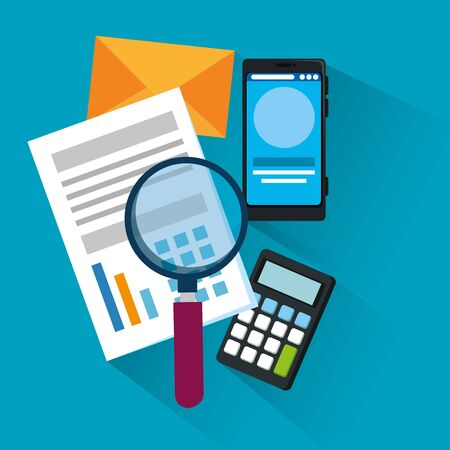 document information with magnifying glass and smartphone over blue background, vector illustration Zdjęcie Seryjne - 129824444