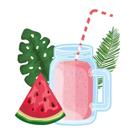 juice watermelon fruit jar with leafs palm vector illustration design