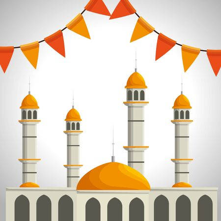 traditional castle with party banner decoration to eid al adha, vector illustration