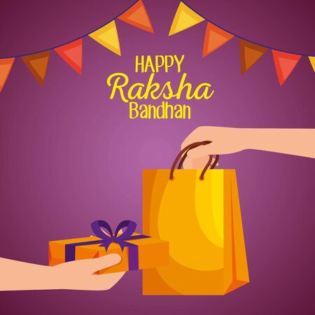hand with bag and present gift with party banner to hindu event, vector illustration