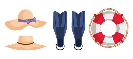 set of hats with fin water equipment and float to summer time vector illustration Illusztráció