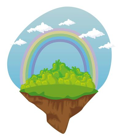 bushes plants with cute rainbow and clouds to fantasy story, vector illustration Ilustrace