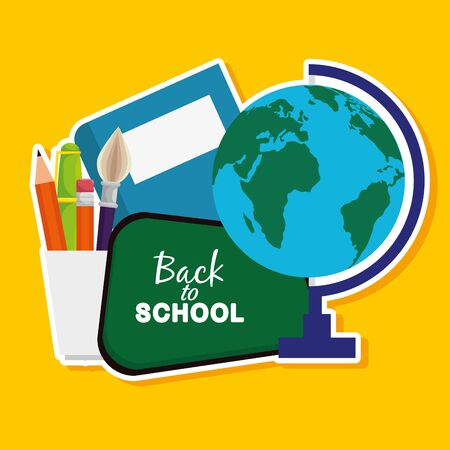 global map with blackboard and book with pencils to back to school vector illustration 向量圖像
