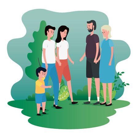 old woman and man with their family and grandson with tree and plants, vector illustration