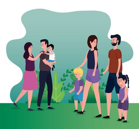 women and men couple with their sons and daughter with bushes plants, vector illustration