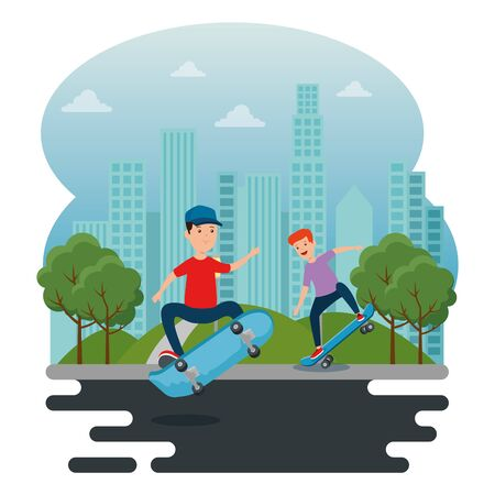 boys playing skateboard sport in the park with trees and mountains vector illustration