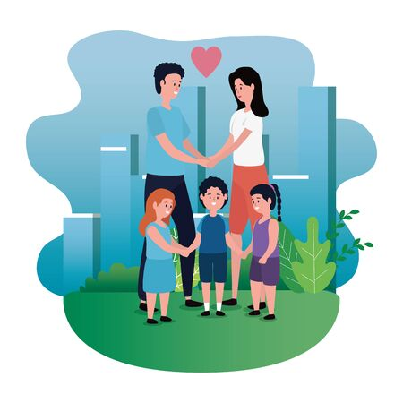 cute woman and man couple with their daughters and son with tree and bushes plants, vector illustration Stock fotó - 129824471