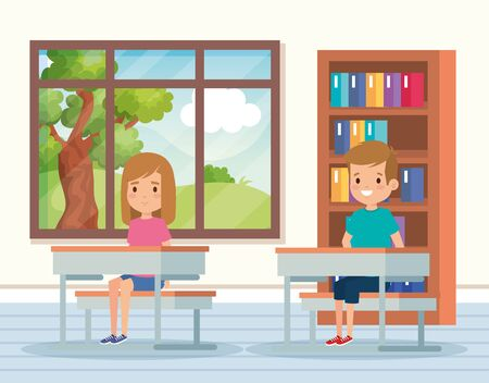 boy and girl children in the academic classroom with desk and bookcase vector illustration