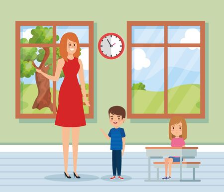 woman teacher in the classroom with kids and clock to academic education vector illustration Illustration