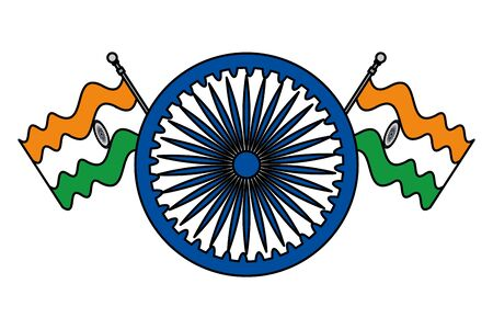ashoka chakra indian with flags vector illustration design