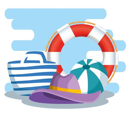 float with ball and hat with purse in the vacation to summer time vector illustration Illusztráció