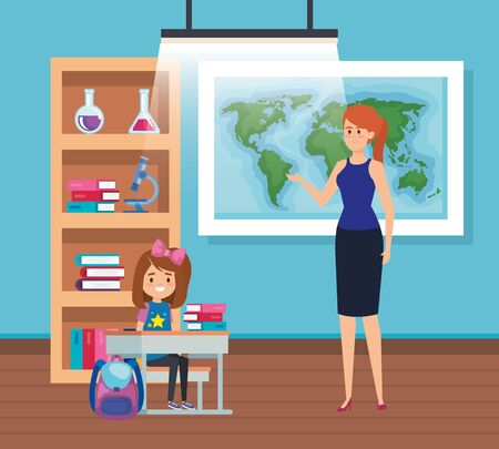 female teacher with student girl in the classroom vector illustration design