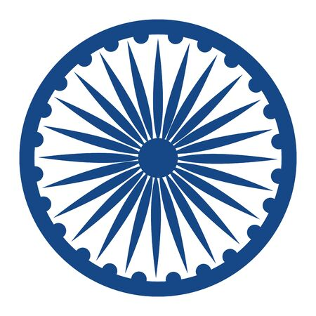 ashoka chakra indian emblem icon vector illustration design  イラスト・ベクター素材