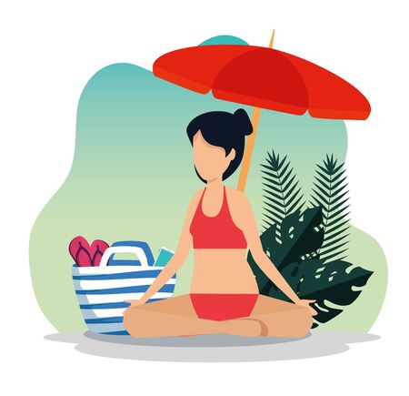 woman sitting with umbrella and flip-flop inside her purse with leaves plants to summer time vector illustration Illusztráció