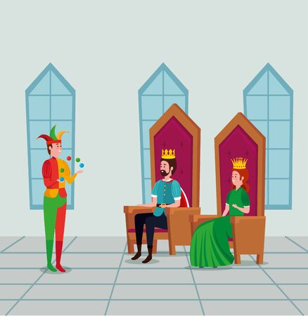 man king and woman queen with joker in the castle to tale character, vector illustration Ilustrace
