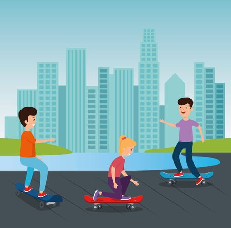 girl and boy playing skateboard sport in the park with building cityscape vector illustration 일러스트