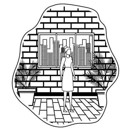 young businesswoman on the city vector illustration design 일러스트