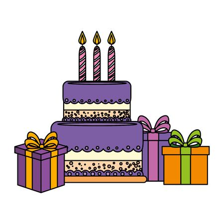 sweet cake bakery with candles and gifts vector illustration design