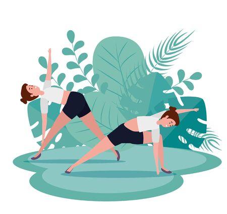 women training yoga meditation exercise with leaves plants , vector illustration Illustration