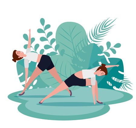 women training yoga meditation exercise with leaves plants , vector illustration Ilustração