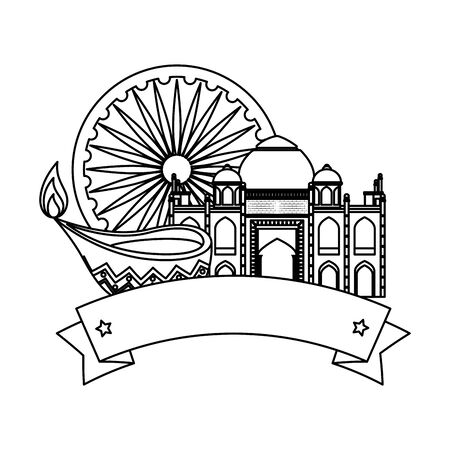 ashoka chakra indian with taj mahal vector illustration design  イラスト・ベクター素材