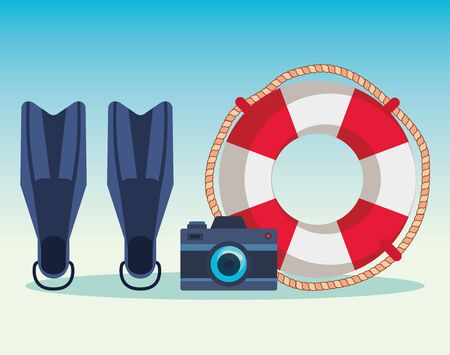 fin water equipment with camera and float to summer time vector illustration