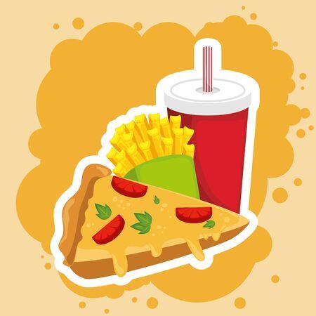 pizza combo con soda e patatine fritte illustrazione vettoriale graphic design