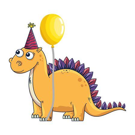 cute diplodocus with balloon helium vector illustration design