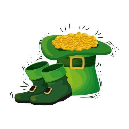 hat leprechaun and coins with boots vector illustration design