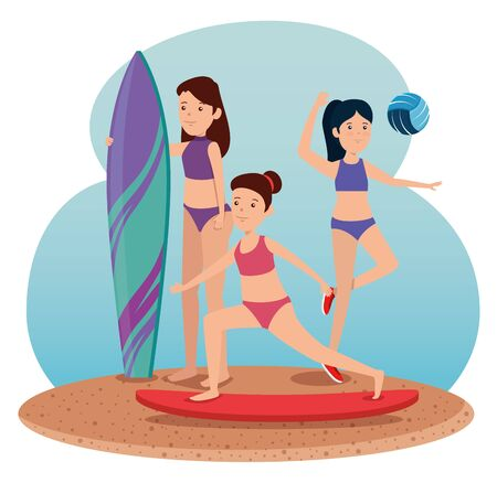 girls practice exercise balance activity to summer sport vector illustration Ilustração