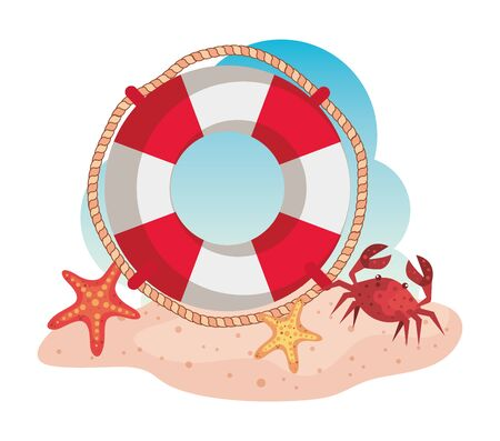 float with starfishes and crab in the beach sand to summer time vector illustration Illusztráció