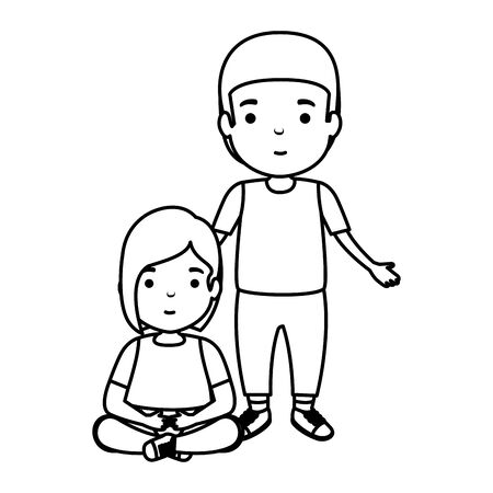 father with daughter characters vector illustration design 向量圖像