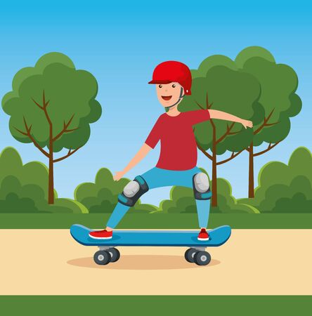 boy playing skateboard with helmet in the park and trees with bushes vector illustration