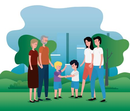 old woman and man with their grandsons and father with mother to family together, vector illustration Stock fotó - 129824522