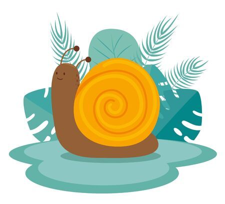 snail animal with branches leaves plants to tale mystery, vector illustration