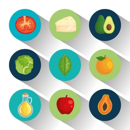 set of delicios vegetables and fruits with cheese to healthy food, vector illustration