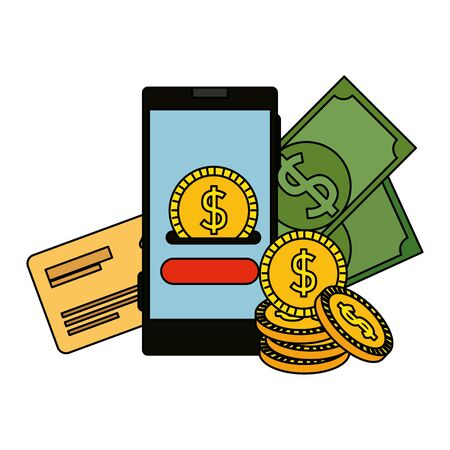 smartphone with coin money dollar and credit card vector illustration design Stock fotó - 129824525